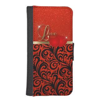 エレガントで赤いグリッター愛 iPhoneSE/5/5sウォレットケース