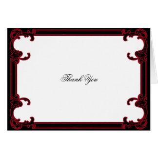 エレガントで赤いゴシック様式フレームの結婚式は感謝していしています カード