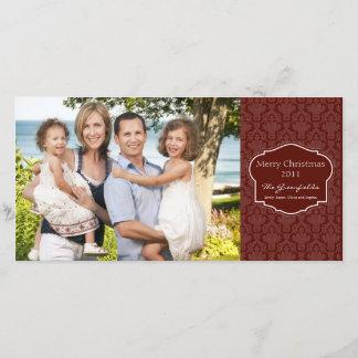 エレガントで赤いダマスク織の写真カード クリスマスカード