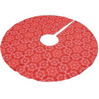 エレガントで赤いレースのクリスマス ブラッシュドポリエステルツリースカート