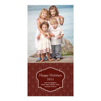 エレガントで赤い休日の写真カード カード