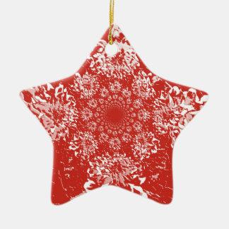 エレガントで赤い花のダリアの花模様 陶器製星型オーナメント