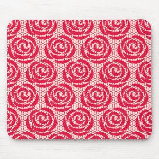エレガントで赤い花のレースパターン マウスパッド