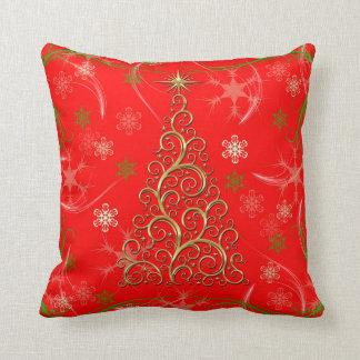 エレガントで赤い金ゴールドの渦巻のクリスマスの休日の枕 クッション