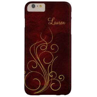 エレガントで赤い金ゴールドの渦巻 BARELY THERE iPhone 6 PLUS ケース