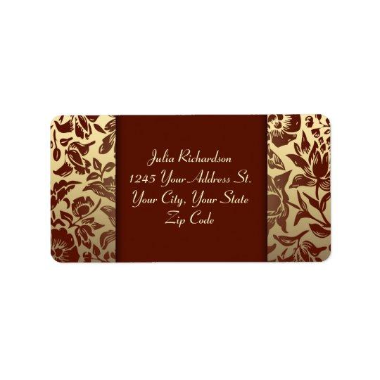 エレガントで赤い金結婚式の住所シール 宛名ラベル