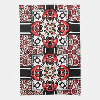 エレガントで赤くおよび黒い東洋のダマスク織 キッチンタオル