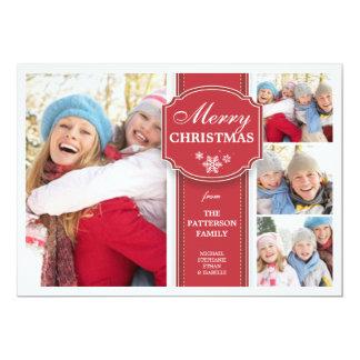 エレガントで赤く及び白い雪4の写真の挨拶状 カード