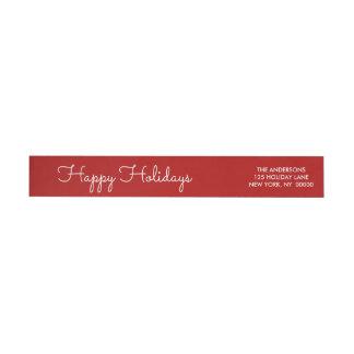 エレガントで赤く幸せな休日の原稿によって文字を入れられる覆い ラップアラウンド返信用宛名ラベル