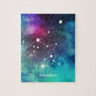 エレガントで赤く青い水彩画の星雲のアクエリアス ジグソーパズル
