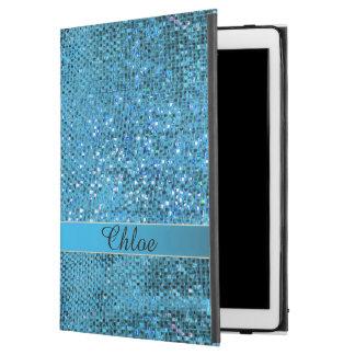 """エレガントで青いグリッターのモノグラムのiPadの空気プロ箱 iPad Pro 12.9"""" ケース"""