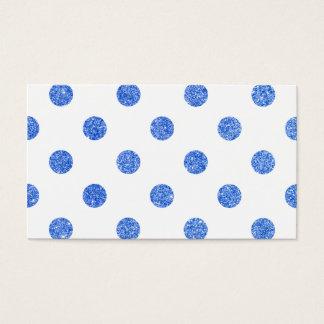 エレガントで青いグリッターの水玉模様パターン 名刺