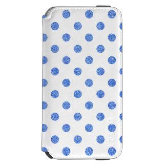 エレガントで青いグリッターの水玉模様パターン INCIPIO WATSON™ iPhone 5 財布型ケース