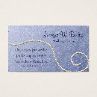 エレガントで青いダマスク織および真珠の名刺 名刺