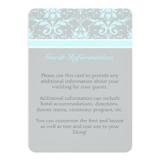 エレガントで青いダマスク織のゲストの情報カード 11.4 X 15.9 インビテーションカード