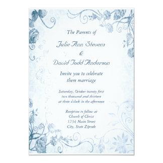 エレガントで青いヴィンテージの結婚 カード