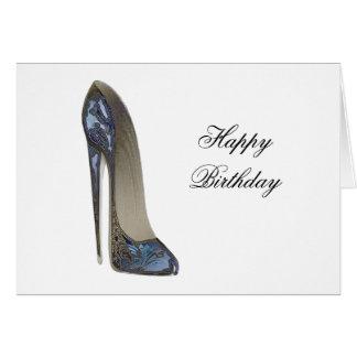 エレガントで青い小剣のハイヒールの靴の芸術のギフト カード
