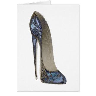 エレガントで青い小剣のハイヒールの靴の芸術のギフト グリーティングカード