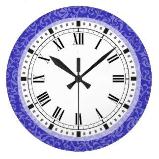 エレガントで青い紫色の花のダマスク織の芸術および技術 ラージ壁時計