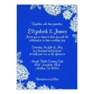 エレガントで青い結婚式招待状 12.7 X 17.8 インビテーションカード