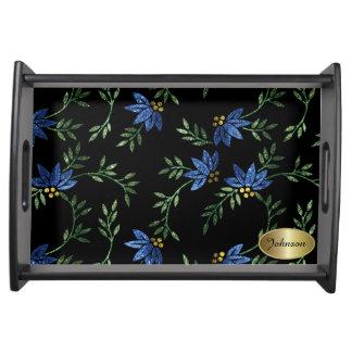 エレガントで青い花のグリッター トレー