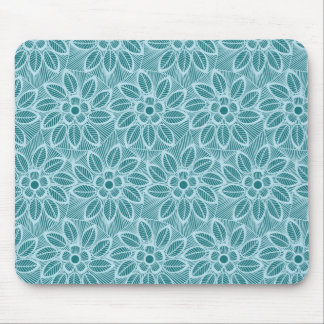 エレガントで青い花のレースパターン マウスパッド