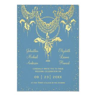 エレガントで青い金ゴールドのアイリス花輪の結婚式招待状 カード