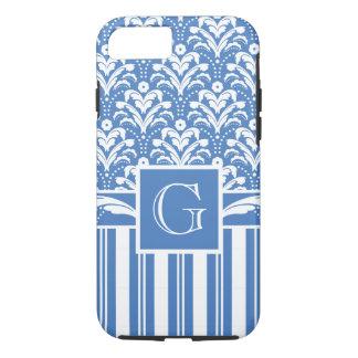 エレガントで青および白いアールデコのダマスク織 iPhone 8/7ケース