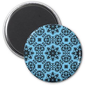 エレガントで青および黒いダマスク織の装飾 マグネット