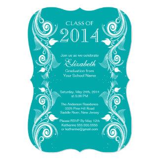 エレガントで青く白い卒業のパーティの招待状 カード