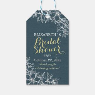 エレガントで青及び白い花の結婚式のブライダルシャワー ギフトタグ