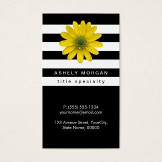 エレガントで黄色いガーベラのデイジー-白黒のストライプ 名刺