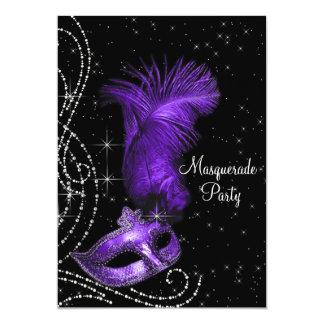 エレガントで黒いおよび紫色の仮面舞踏会のパーティー カード