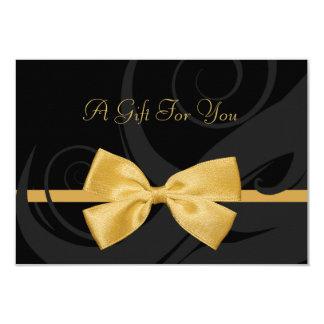 エレガントで黒いカールの模造のな金ゴールドの弓ギフト券 8.9 X 12.7 インビテーションカード