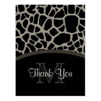 エレガントで黒いキリンのプリントのモノグラムは感謝していしています ポストカード