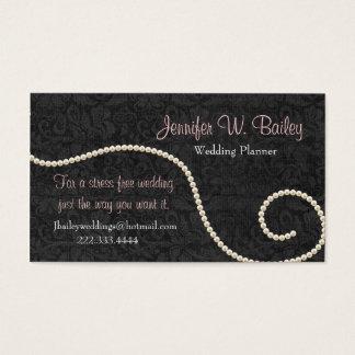 エレガントで黒いダマスク織および真珠の名刺 名刺
