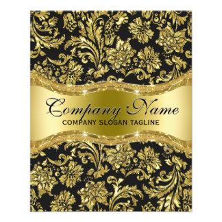 エレガントで黒い及び金属金ゴールドの花柄のダマスク織 チラシ