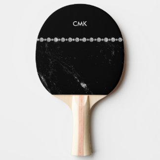エレガントで黒い大理石およびダイヤモンドの一見|のモノグラム 卓球ラケット