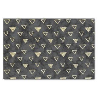 エレガントで黒い大理石の金ゴールドの三角形パターン 薄葉紙