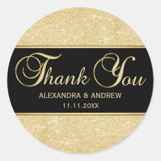 エレガントで黒い金ゴールドのグリッターは感謝していしています ラウンドシール