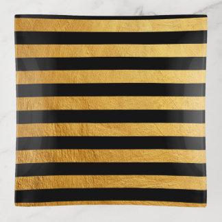 エレガントで黒い金ゴールドのペンキの横のストライプなパターン トリンケットトレー
