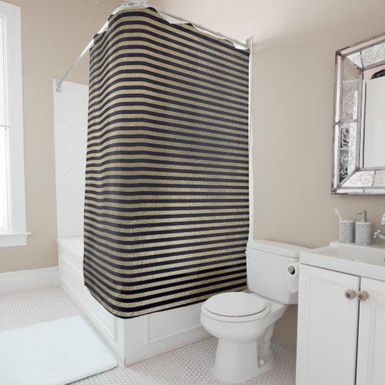エレガントで黒い金ゴールドのミニマルでストライプなラインVIP シャワーカーテン