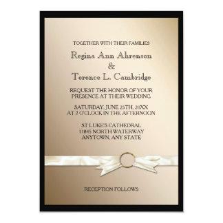 エレガントで黒い金ゴールドのリボンの結婚式 カード