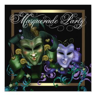 エレガントで黒い金ゴールドの紫色の仮面舞踏会のパーティー カード