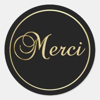 エレガントで黒い金ゴールドMERCIはステッカーを分類します ラウンドシール