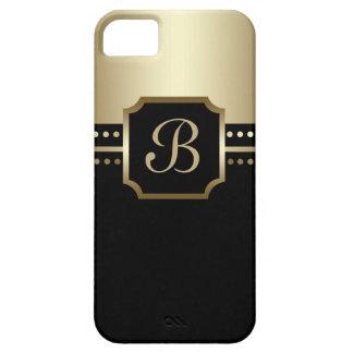 エレガントで黒い金モノグラムBのiPhoneの箱 iPhone SE/5/5s ケース