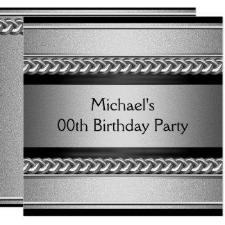 エレガントで黒い銀製の金属の鎖の誕生会 カード