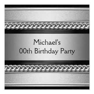 エレガントで黒い銀製の金属の鎖の誕生会 13.3 スクエアインビテーションカード