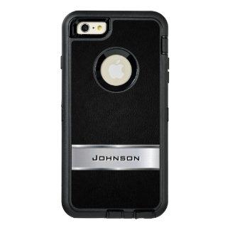 エレガントで黒い銀製の金属一見の名前をカスタムする オッターボックスディフェンダーiPhoneケース