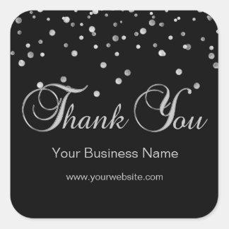 エレガントで黒い銀製ビジネスはラベル感謝していしています スクエアシール